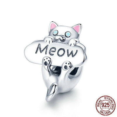 Lovely Cat Meow Charm, 925 Silver, Pink Enamel