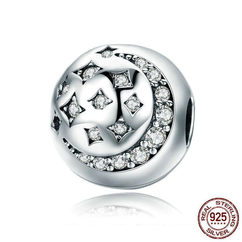 Sparkling Moon & Stars Clip Charm, 925 Silver, CZ