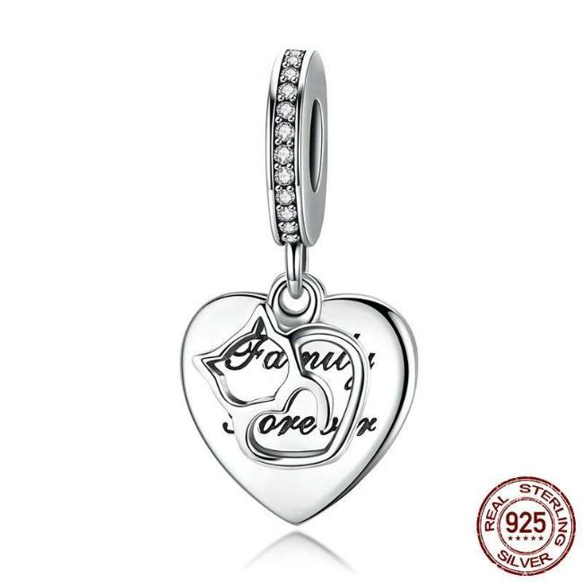 Cat Family Forever Dangle Charm, 925 Silver, CZ