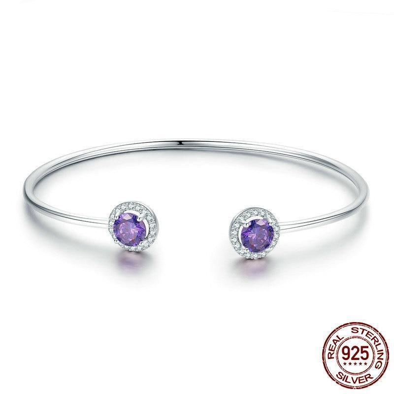 Sparkling Fairy Tale Purple Open Cuff Bangle, 925 Silver