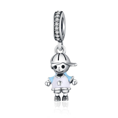 Little Cute BOY & GIRL Charm, 925 Silver with CZ and Enamel
