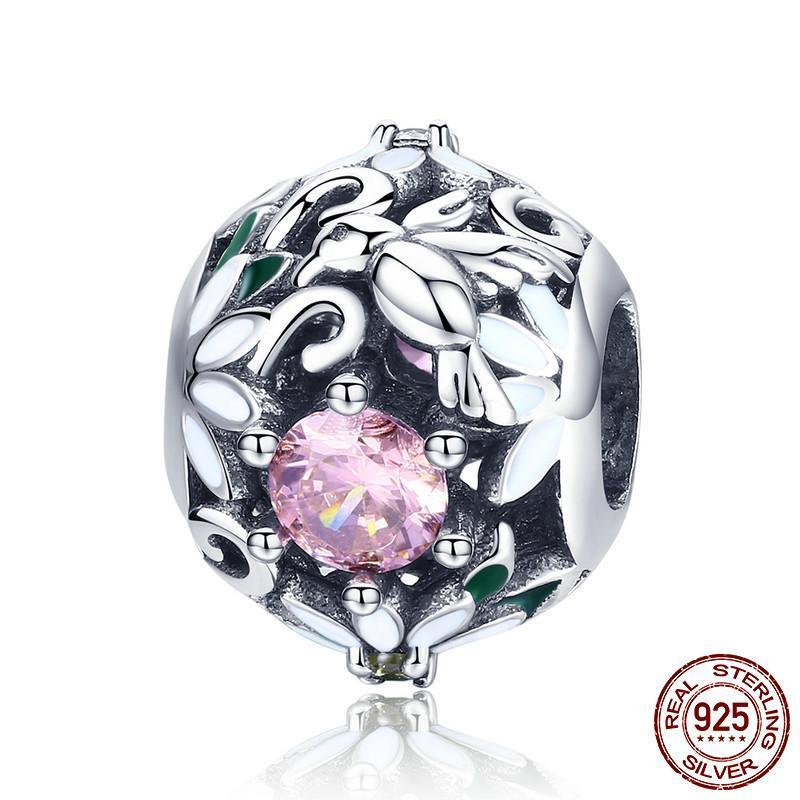 Flower Bushes, Pink CZ Charm, 925 Silver
