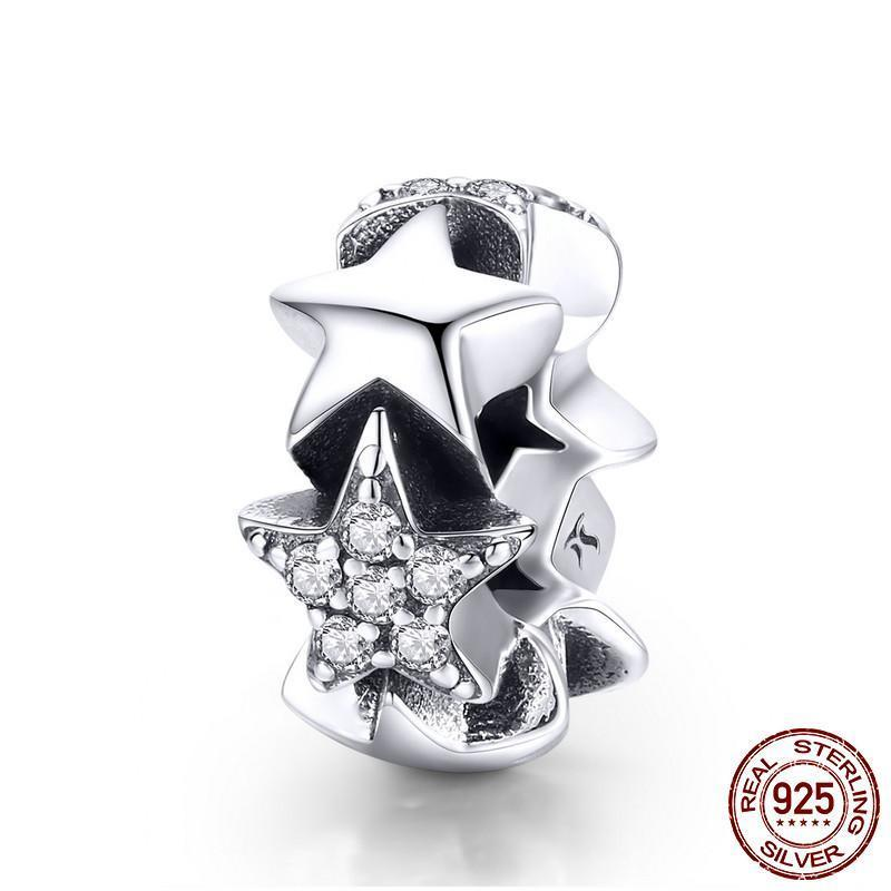 Stars Spacer charm, 925 Silver, CZ