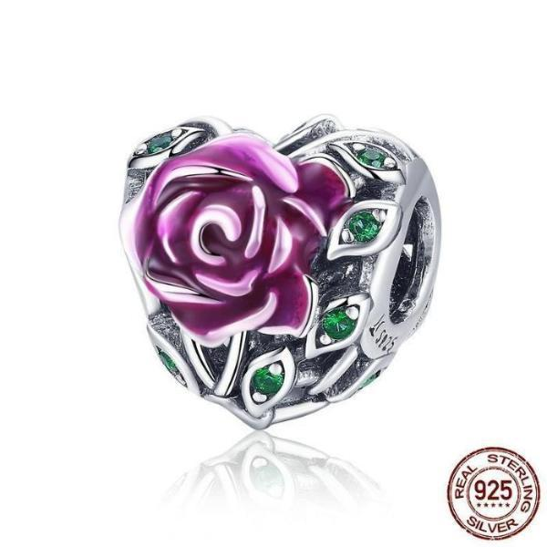 Romantic Rose Love Bead Charm, 925 Silver, Pink Enamel
