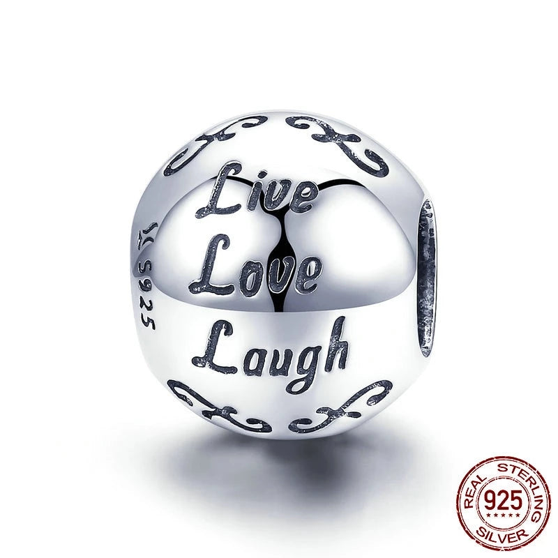 Live Love Laugh charm, 925 Silver