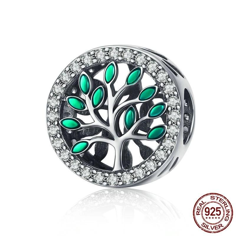 Green Life Tree Bead, 925 Silver