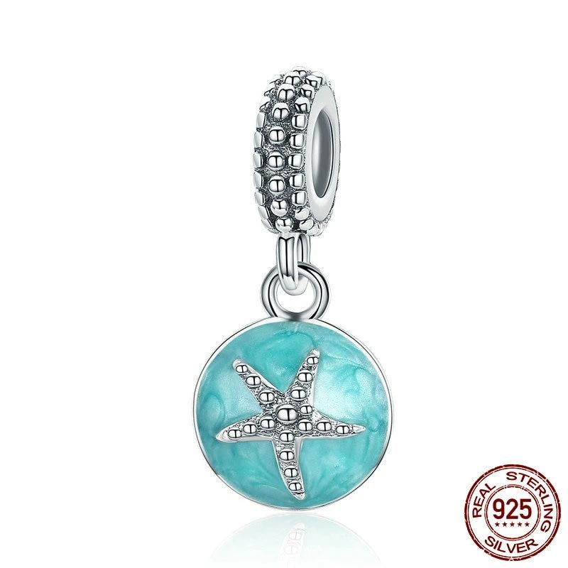 Acqua Starfish Dangle Bead, 925 Sterling Silver with Enamel