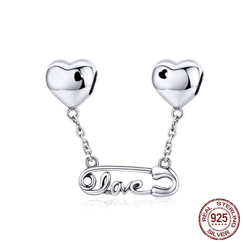 LOVE Clip Heart Safety Chain, 925 Silver