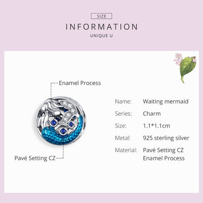 Mermaid of the Sea charm, S925, Blue Enamel, Blue & Clear CZ