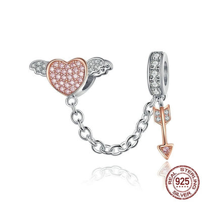 Heart Wings Arrow Safety Chain, 925 Silver with Cubic Zirconia