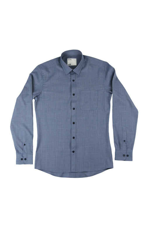 wolk merino shirt navy blue pinstripe chest pocket and long sleeves