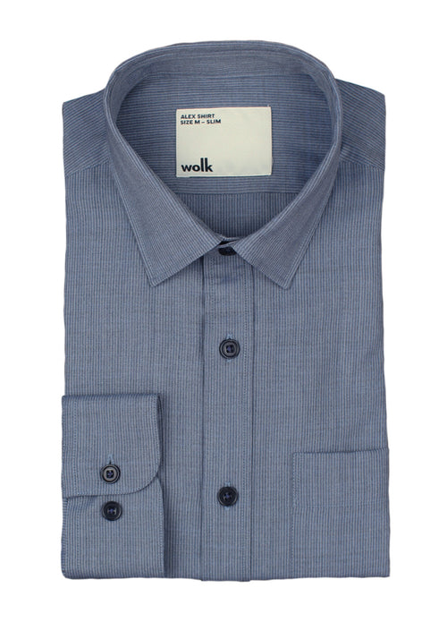 wolk merino shirt for men in navy blue pinstripe with chest pocket
