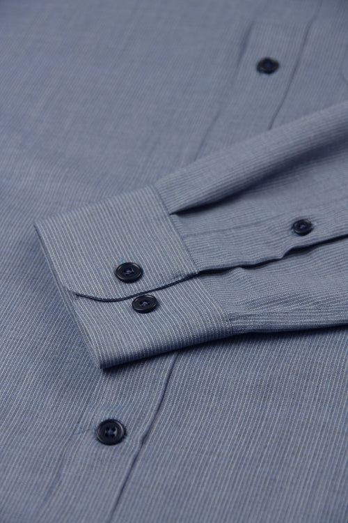 wolk merino shirt navy blue pinstripe with rounded cuff