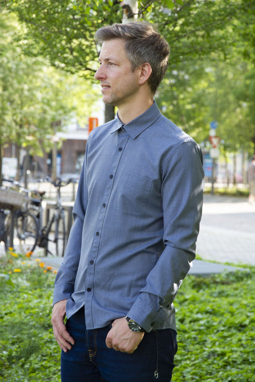 wolk merino wool shirt navy pinstripe for the city