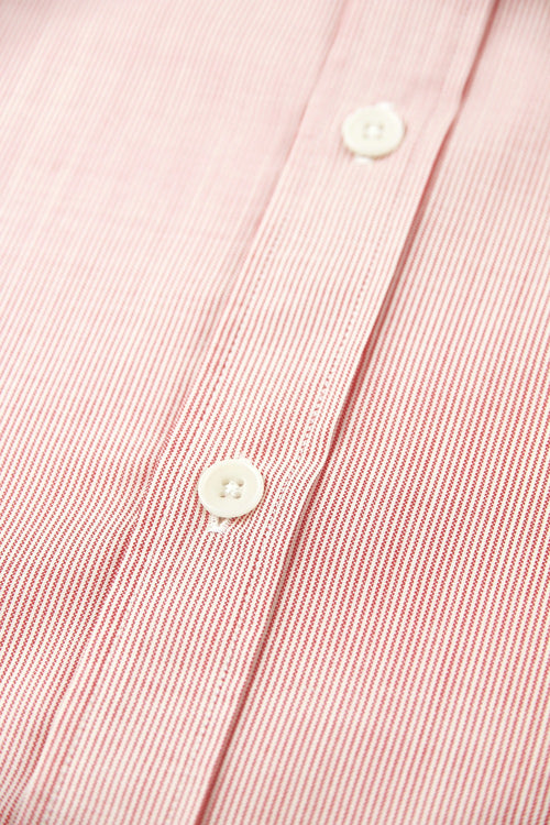 white corrozo buttons on merino shirt