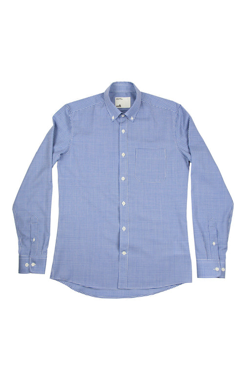 Wolk merino button down shirt in blue gingham with long sleeves and chest pocket
