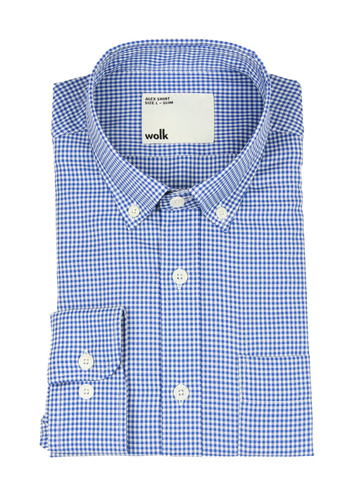 gefaltetes Wolk Merino Shirt mit blauem Gingham Button Down