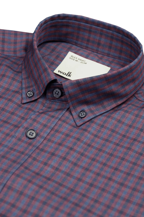 Button down merino wool shirt in burgundy navy gingham with classic collar