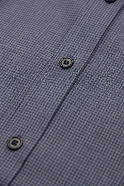 navy corrozo buttons on grey/navy merino fabric