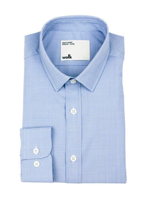 Folded merino wool shirt from Wolk in light blue mini houndstooth