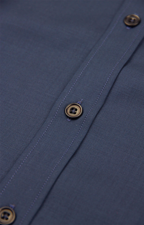 blue corozo buttons on merino wool shirt
