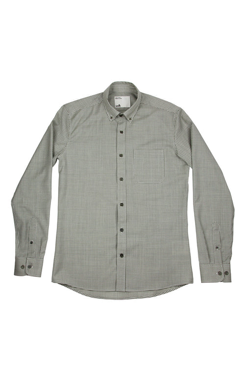 Wolk - merino wool shirt with button down collar in olive green gingham, long sleeves, green corozo buttons and chest pocket
