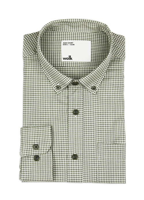 folded merino wool shirt with button down collar in olive gingham with chest pocket