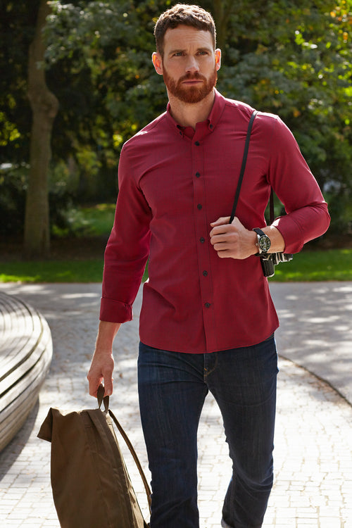 Wolk merino shirt button down red navy mini gingham