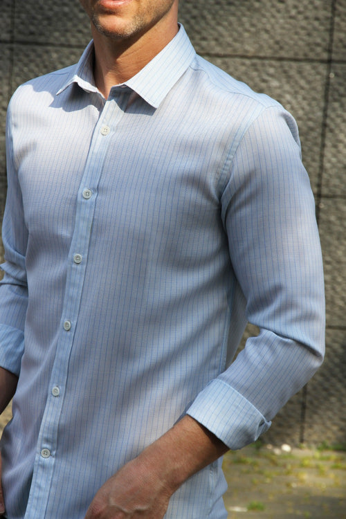 men wearing merino shirt in light blue pinstripe with longsleeves