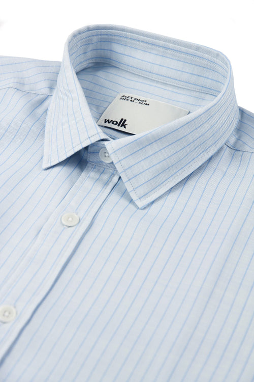 wolk merino shirt in light blue pinstripe with collar detail