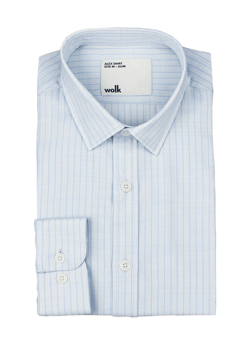 wolk merino shirt light blue pinstripe