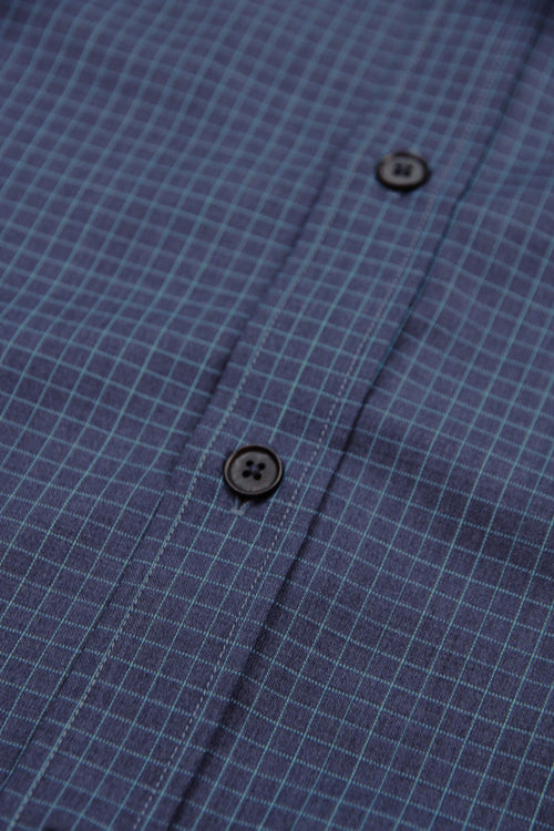 navy graph check merino wool shirt with corozo buttons