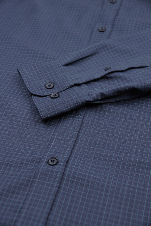 navy graph check merino shirt with cuff detail double button