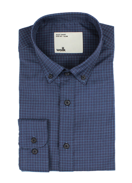 Navy graph check folded merino shirt