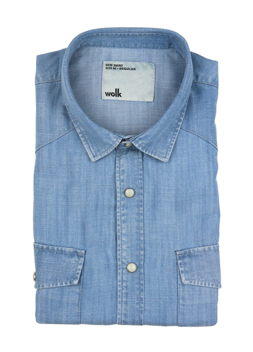 Wolk- folded Tencel denim shirt in washed indigo color