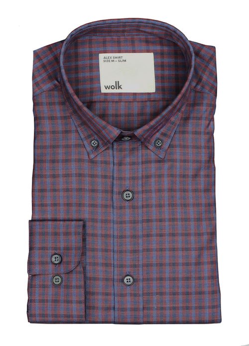 Merino wool shirt burgundy navy gingham