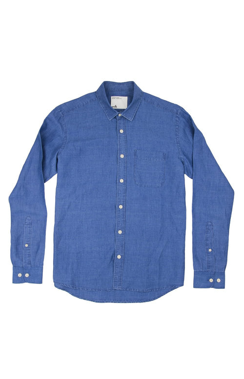Wolk-Premium European Linen Men Shirt-Blue Indigo washed