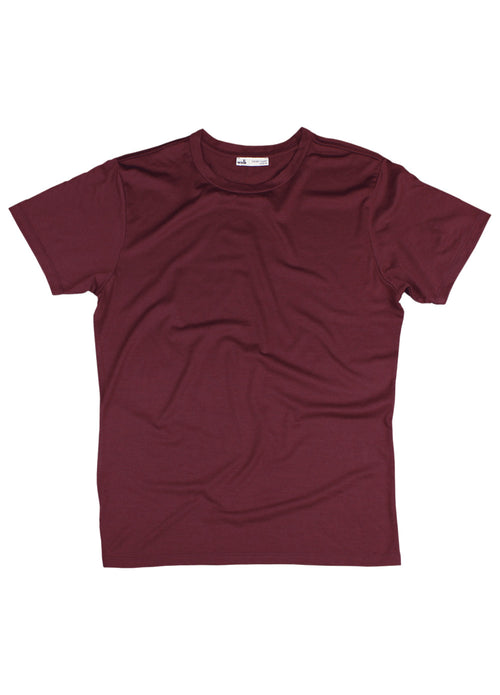 merino wool T-shirt in burgundy red made in Portugal