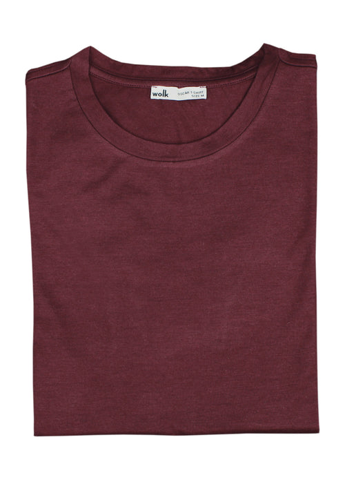 80% merino wool (17 micron) + 20% nylon T-shirt in burgundy red