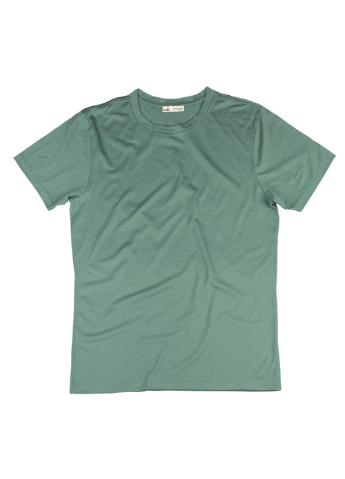 packshot of a green merinowool t-shirt from Wolk with a crew neck