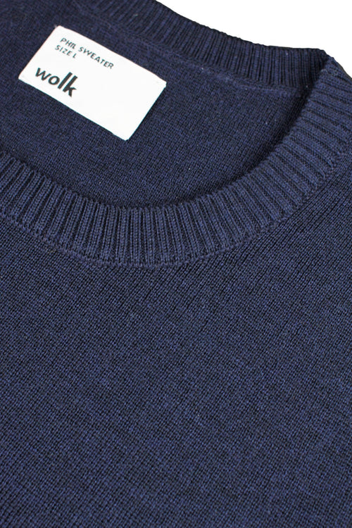 wolk label in merino wool sweater in navy blue color and half milano stitch
