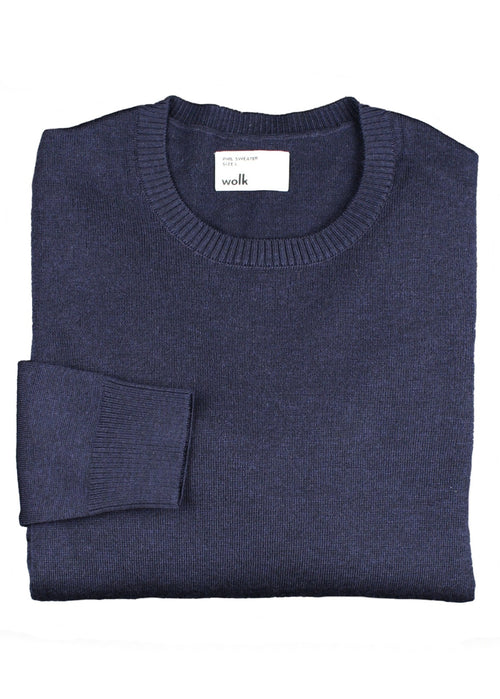 Folded navy blue folded merino wool sweater