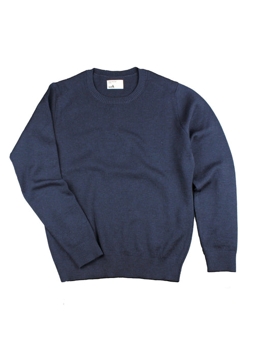 navy merino wool sweater with crew neck for men made in Europe (Portugal)