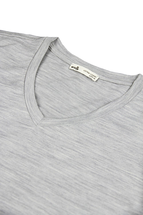 Merino t-shirt grey melange V neck