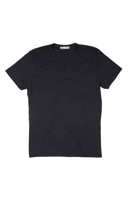 Wolk-Climaforce Merino T-shirt-black V-neck