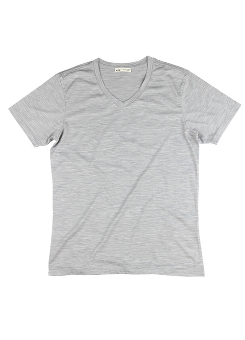 Grey t-shirt short sleeve in merino wool V-neck