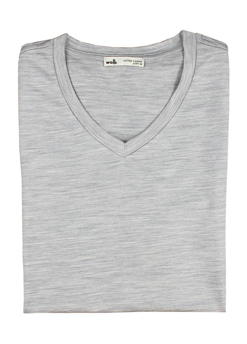 Grey merino wool T-shirt with V neck 17 micron