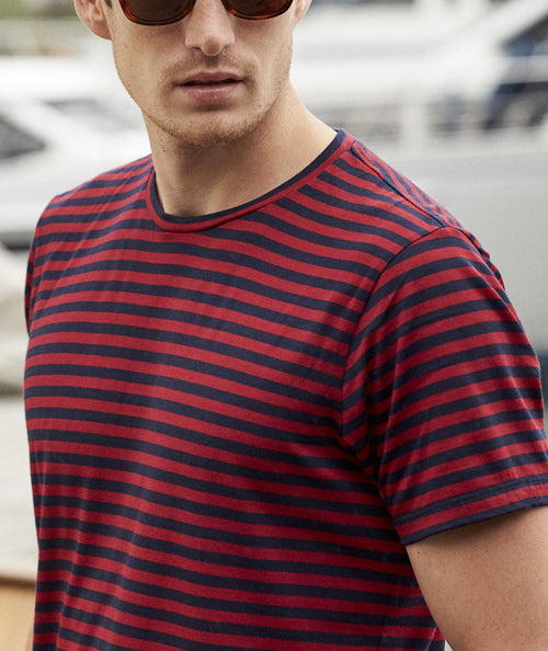 Wolk- durable Merino T-shirt-red blue stripe round neck