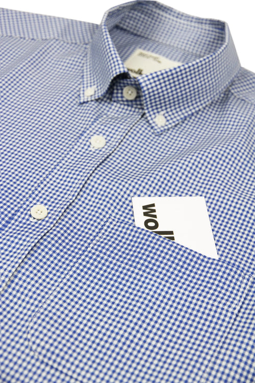 Wolk merino shirt blau gingham button down mit Tasche