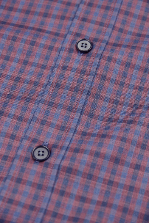 Corrozo buttons on merino wool shirt in burgundy navy gingham
